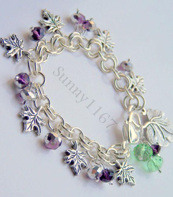 Gift Idea Art beads Crystal Grape Leaf Charm Silver by Sunny1167, €14.99