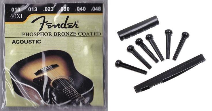 acoustic guitar repair kit black pegs saddle nut fender strings diygk fsrkb diygk guitar. Black Bedroom Furniture Sets. Home Design Ideas