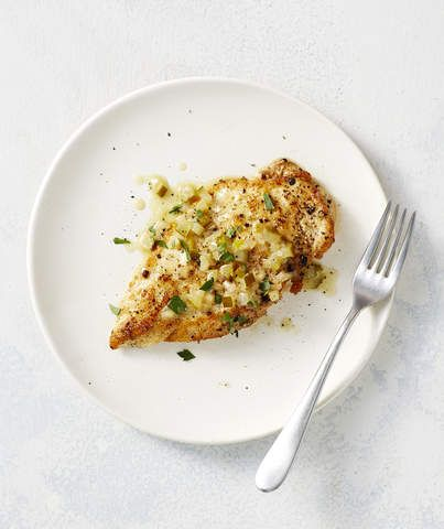 Chicken Pickle Piccata | Adults and children alike will love these chicken cutlets drizzled with a piquant dill pickle-butter sauce, which remind us a bit of sophisticated Chick-fil-A. There's no breading, but the chicken goes into a screaming hot pan so it gets nice and golden brown on the outside. Chicken cutlets are sold in most markets, but you can easily split chicken breasts in half horizontally and make them yourse...