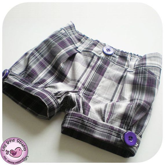 Cuffed Shorts for girls- front n back pockets, zipper, elastic back - 12 months to 8 years - PDF Pattern and Instructions