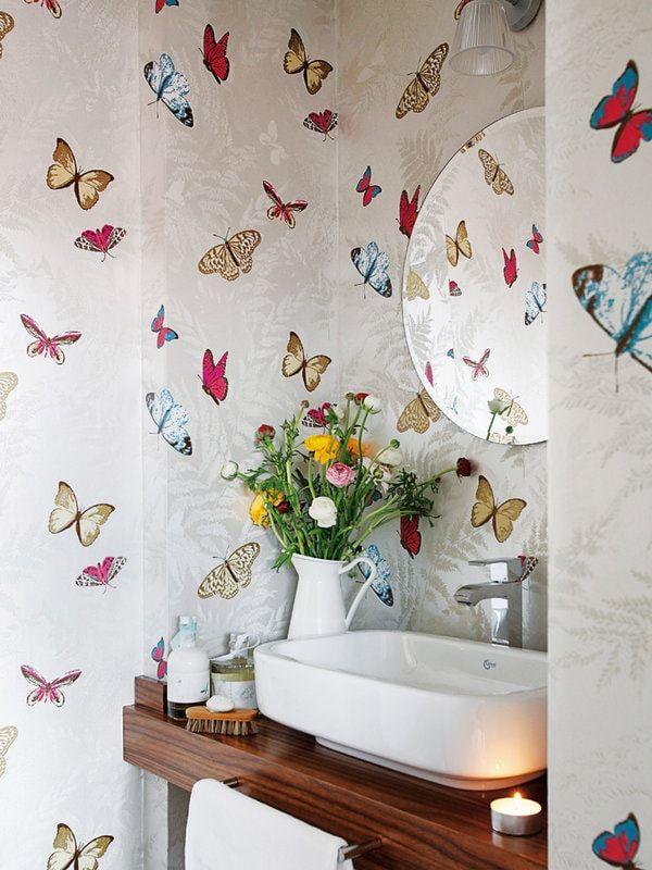 papel pintado de mariposas en el bao