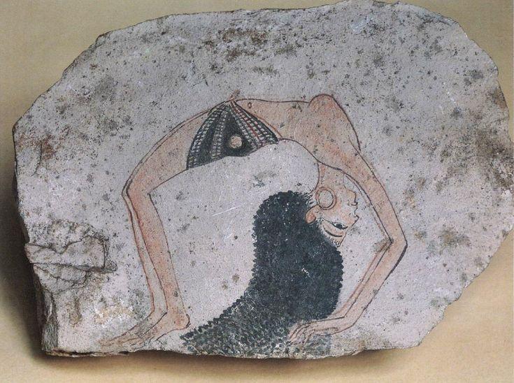 Acrobat – (20th Dynasty: c. 1180 BC) limestone ostracon Turin, Museo Egizio