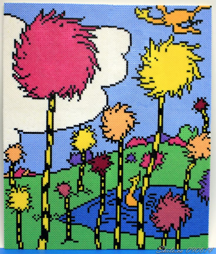 The World of Seuss - perler bead art by ShiloT on deviantART (15776 beads - 22 inches by 26.5 inches)