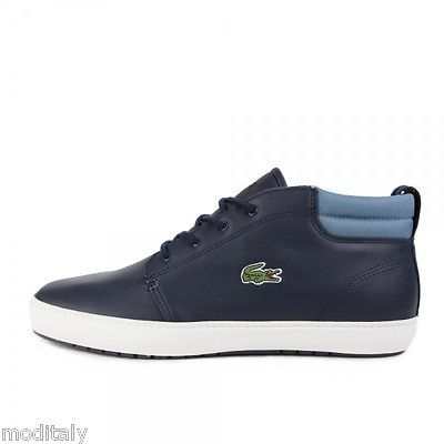 LACOSTE-scarpe-uomo-AMPTHILL-TERRA-316-1-marrone-blu-polacchino-sneakers-pelle
