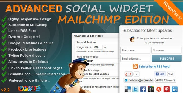 Advanced Social Widget MailChimp Edition - adds an advanced widget box to your WordPress theme sidebar giving users the ability to link your site to all the popular Social Networking sites such as Delicious, Twitter, Facebook, StumbleUpon, Pinterest, LinkedIn and access to FeedBurner & MailChimp Email Subscription.