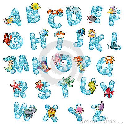 Alphabet With Fish And Bubbles. Stock Images - Image: 25342534