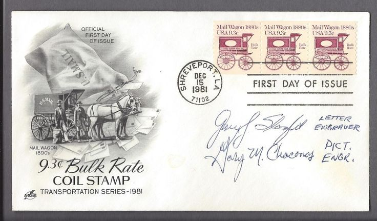 First-day cover 9.3 cents mail wagon December 15, 1981 autographed by engravers