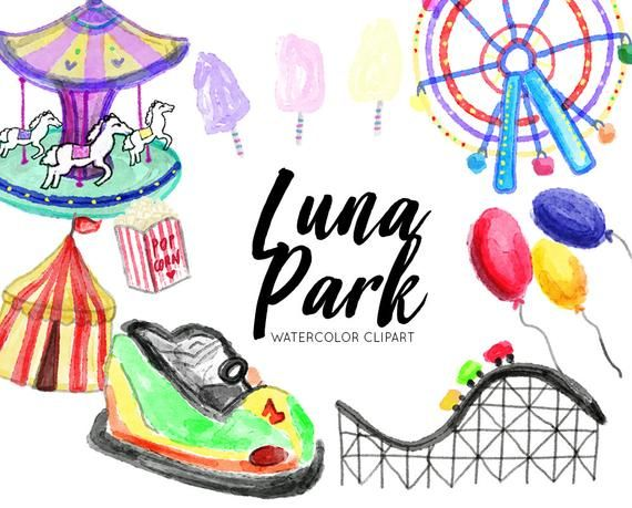 Luna Park Watercolor Clipart Hand Drawn Clipart Commercial Use