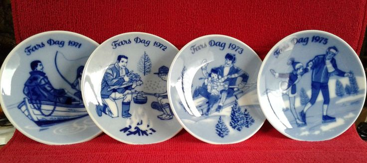 Vintage Porsgrund Norway Fars Dag Father's Day Limited Edition Plates (set of 4)