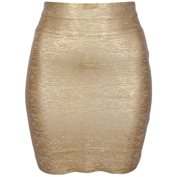 Minty Meets Munt Metallic Body Con Skirt in Gold (£42) ❤ liked on Polyvore featuring skirts, bottoms, saias, gonne, faldas, gold, brown bodycon skirt, gold bodycon skirt, stretch skirts and metallic bodycon skirt