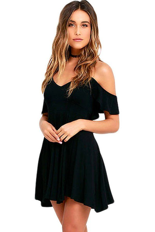Robes Patineuses Doux Sexy Noir Robe Backless #robenoire chic – Modebuy.com