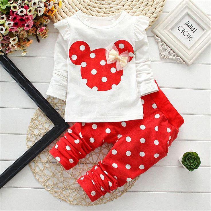 Kids Minnie Mickey In Quần Áo Cô Gái Bé Đặt Dài Tay Áo Bông Toddler Baby Girl Quần Áo Bộ Trẻ Em Phù Hợp Với T-Shirt + Quần