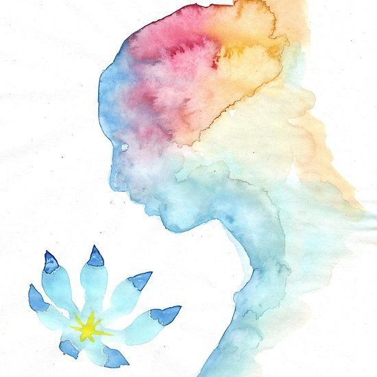 The ghost of a loved one and a blue flower, a watercolor painting inspired by a poem by Mihai Eminescu
