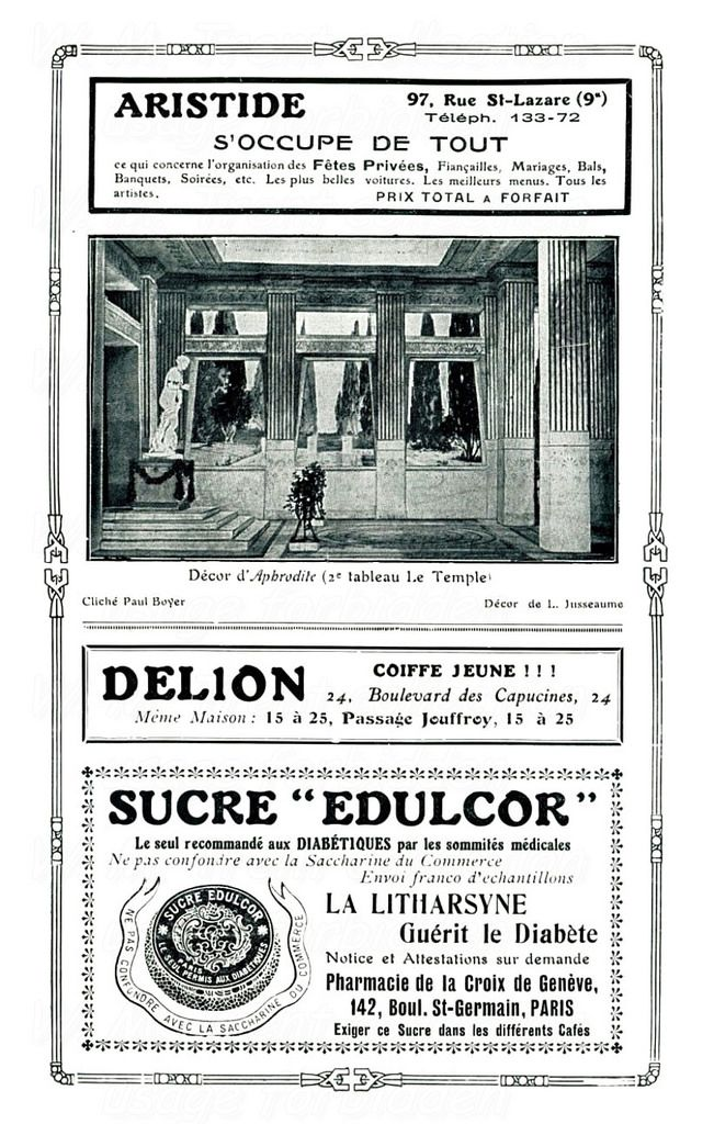 From France in 1908 a page of contemporary advertisements.