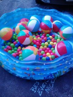 Classroom pool party... No water needed.... Fill a kiddie pool with ball pit ball's and beach balls (or anything creative) for loads of indoor pool fun without the water mess.