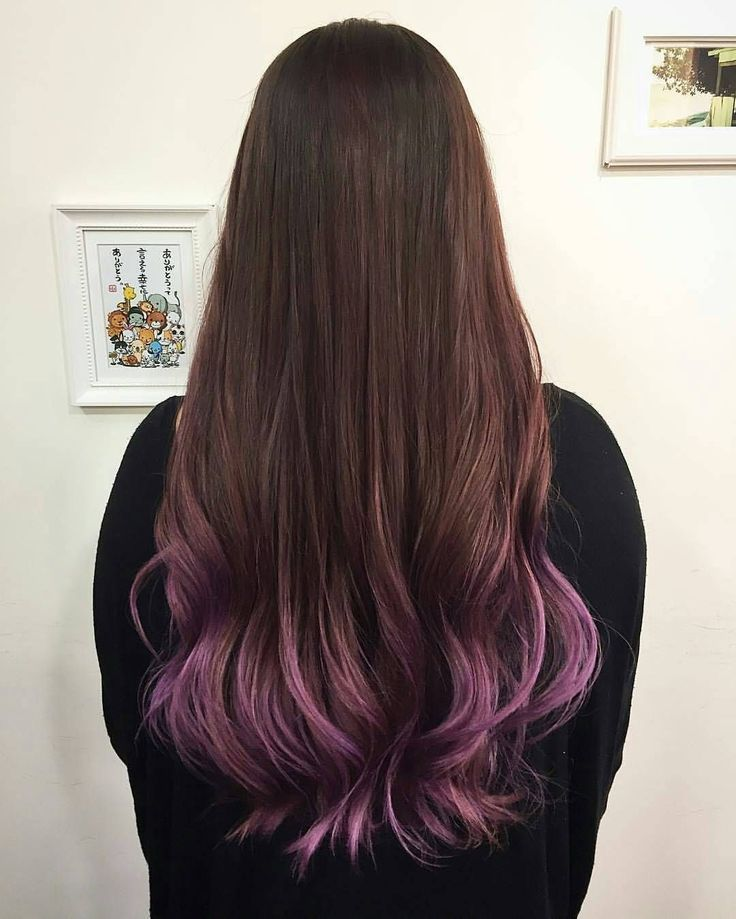 A Hint Of Purple At The Tips Of The Hair The Gradient Of Warm Brown And Li Brown D Brown Gradient Hair In 2020 Brown Hair Dye Dip Dye Hair