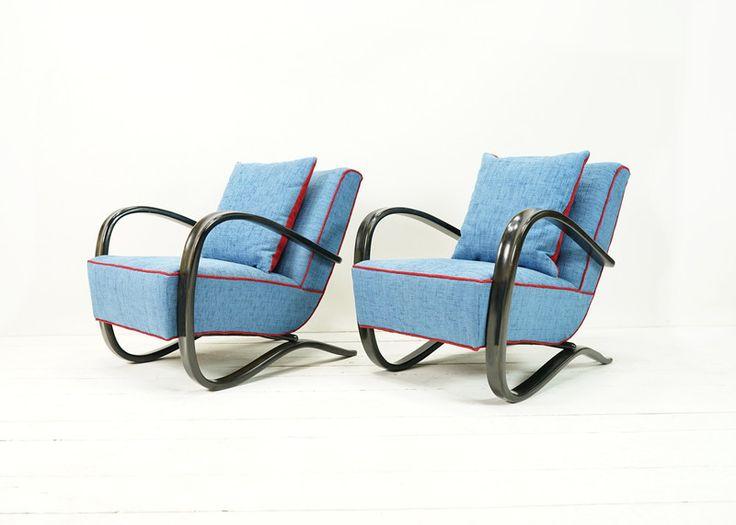 Vintage Sessel - ART DECO SESSEL VON HALABALA H269 HELLBLAU - ein Designerstück von ferdinand-christall bei DaWanda