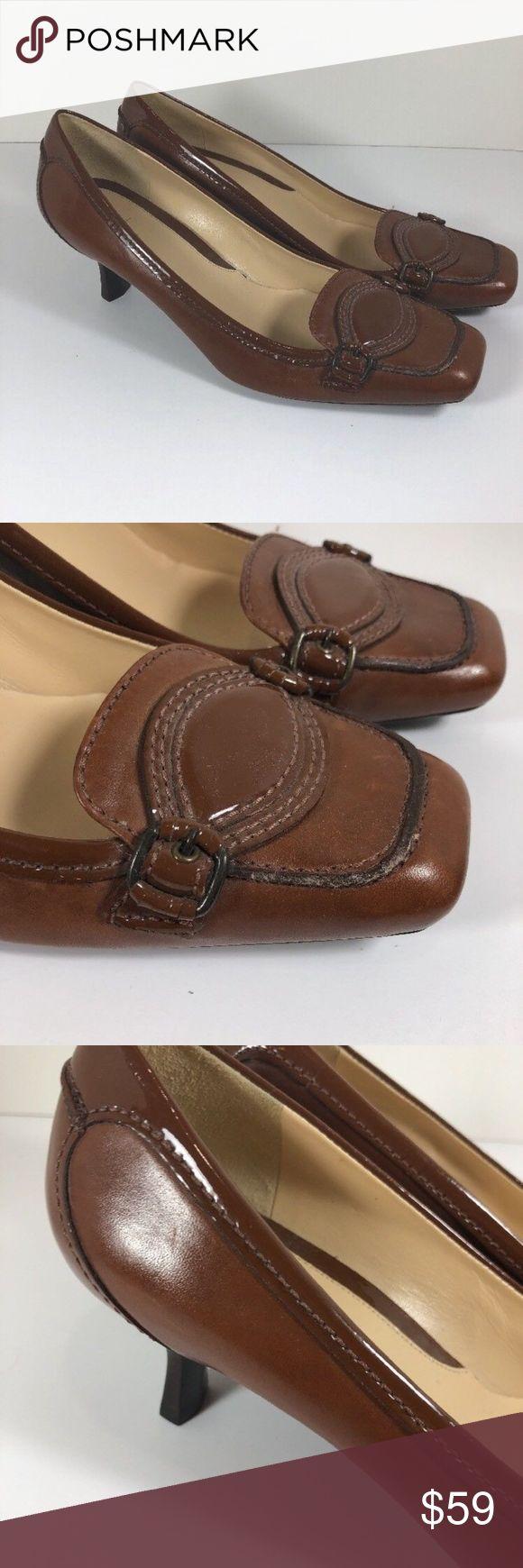Cole Haan Brown Penny Loafer Kitten Heel Pumps Cole Haan Penny Loafer Pumps Womens Size 9 1/2 B Brown Leather  Kitten Heel  Patent leather accent  Very minimal wear - no heel wear Cole Haan Shoes Heels