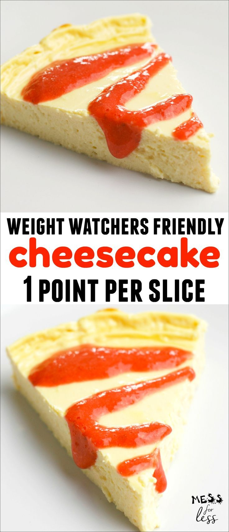 This One Point Cheesecake is delicious and creamy and just one point per slice. Only 4 points for the entire cake on the Weight Watchers Freestyle plan. You can add a fresh strawberry topping for no additional points. Wonderful low point dessert!