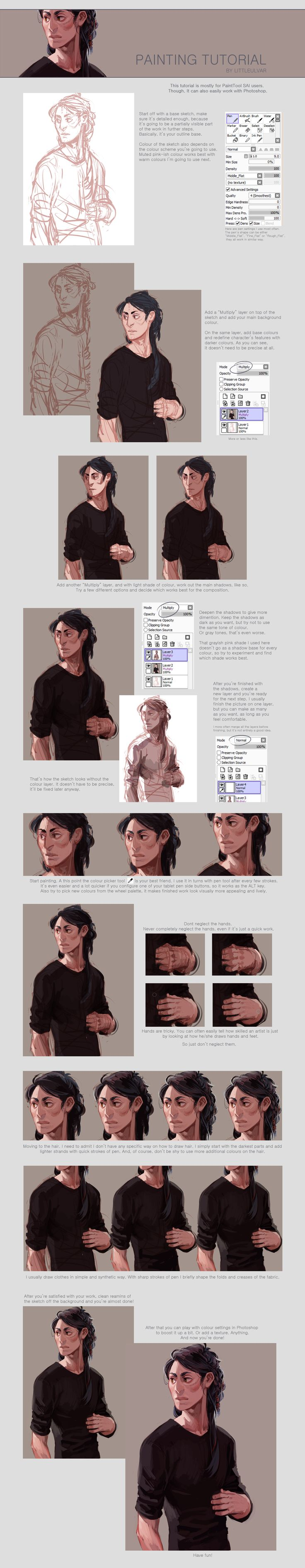 "painting tutorial by *littleulvar on deviantART   ""Also known as ""How to use SAI like a caveman."" Welcome.  I did it because lots of you asked, I hope that somebody will find it useful. And I'm sorry for any typos."""