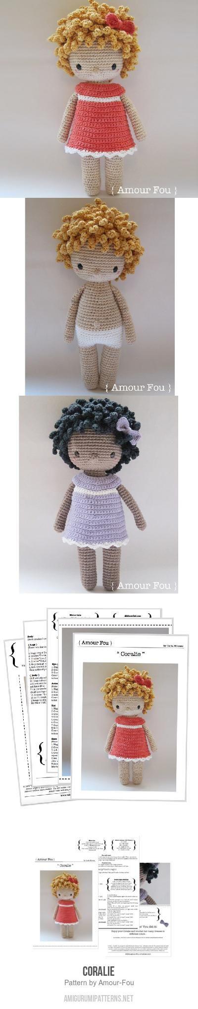Coralie amigurumi pattern | Violet en 2018 | Pinterest | Ganchillo ...