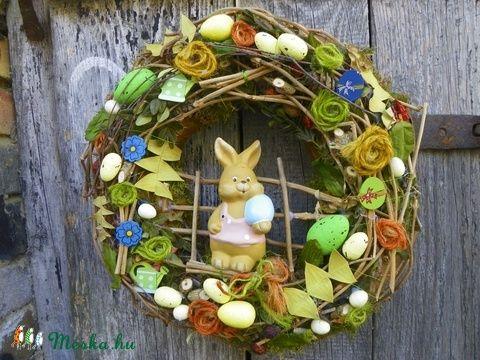 Nyuszis Húsvéti,tavaszi ajtódísz,kopogtató,koszorú (galamb70) - Meska.hu