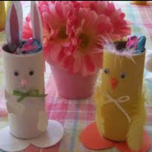 Chocolate holders made from loo rolls