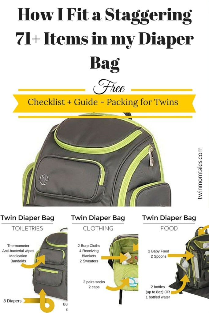 See how I fit over 71 items in my twin diaper bag, including detailed pictures and a free checklist for packing.