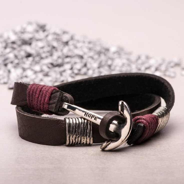 Bracelet Leather Hope Anchor Silver Color