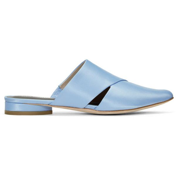 Opening Ceremony Blue Satin Livre Mules (390 CAD) ❤ liked on Polyvore featuring shoes, blue, rubber sole shoes, opening ceremony, opening ceremony shoes, satin shoes and pointy toe mules