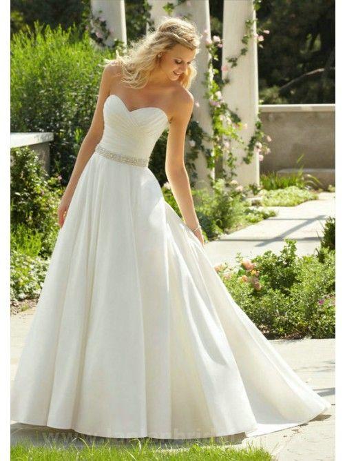 Cuore A-line/Stile Principessa Raso Senza Maniche Coda a Strascico Corto Perline Abiti da sposa