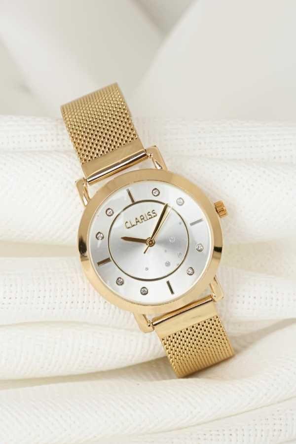 Gold Renk Kaplama Hasir Metal Kordonlu Beyaz Ic Tasarimli Metal Kasa Clariss Marka Bayan Saat Bayan Saatleri Renkler Kadin Saat