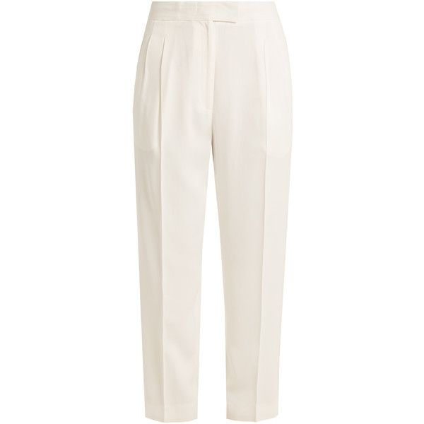 Khaite Esther high-rise straight-leg crepe trousers (€285) ❤ liked on Polyvore featuring pants, trousers, white, white straight leg pants, white pants, tailored pants, high waisted white pants and high waisted trousers