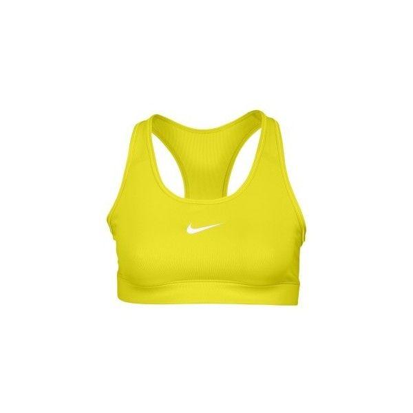 Nike Pro Core Bra Women's ($30) ❤ liked on Polyvore featuring activewear, sports bras, tops, bras, bras & panties, yellow sports bra, nike sports bra, nike activewear, nike and nike sportswear