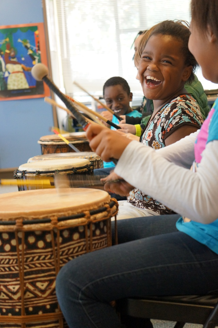 Jones Elementary students experienced West African drumming with visiting artist Darrell Rose.