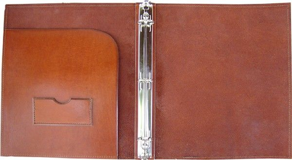 Rustic Leather 3 Ring Binder - Click Image to Close