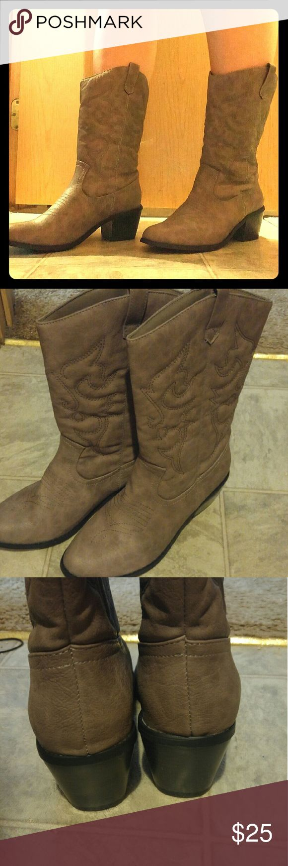 NWOT Grey-Brown Cowboy Boots Cowboy boots come to midcalf. Low heel. Never worn outside. West BLVD Miami Shoes Heeled Boots