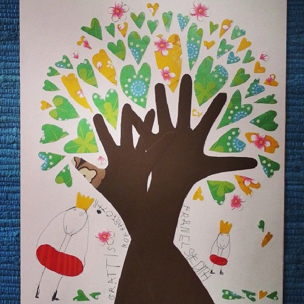 tree with the kids hands as the stem and wallpaper hearts as leaves