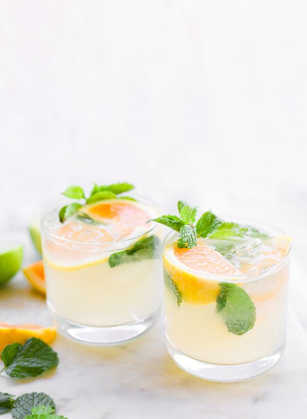 Grapefruit and mint coctail