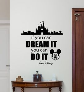Disney Quote Wall Decal Mickey Mouse Castle Vinyl Sticker Nursery Decor 215crt  | eBay