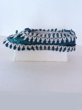 Soulier porte-bijoux paillettes vert et blanc  No. 0630