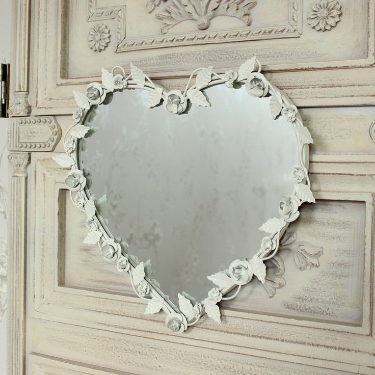 Crema floreale specchio a cuore vintage per la casa shabby chic accessorio | eBay