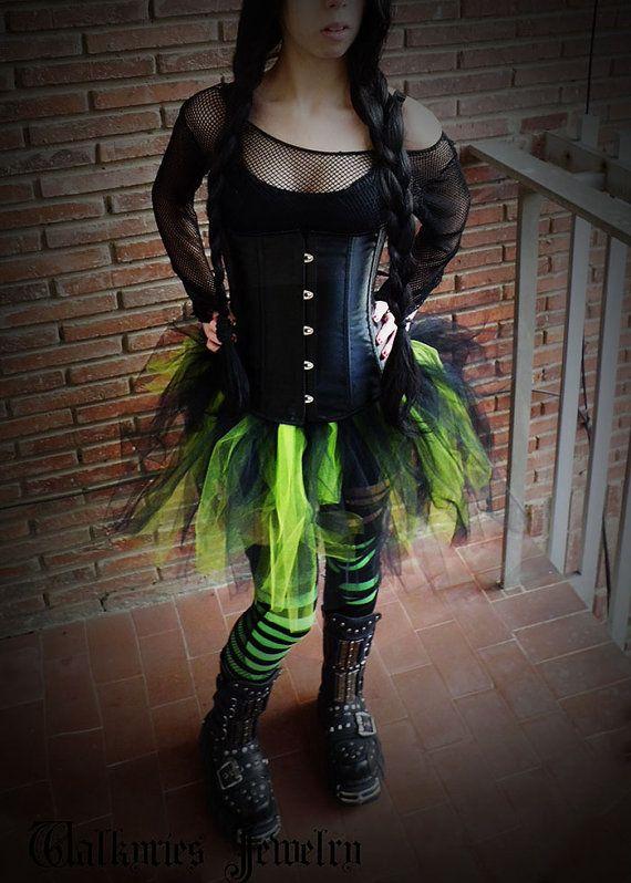 Toxic Avenger - Green black tutu skirt pixie gothic lolita ...
