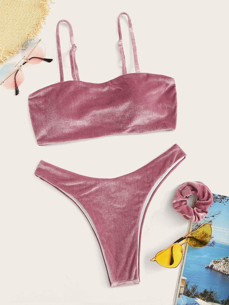 High Leg Velvet Bikini Set mit Haargummi