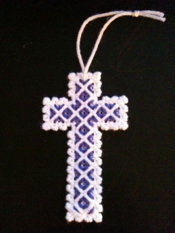 Fancy cross made from plastic canvas