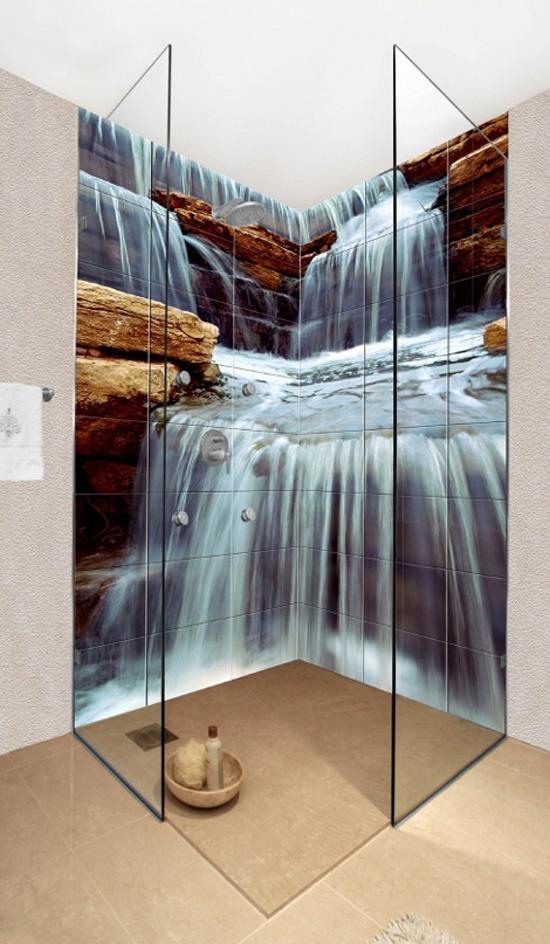 Glasses Shower Bathroom Decoration with Ceramic Photo Tiles