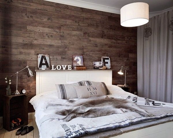 Holz Tapete Schlafzimmer : Rustic Romantic Bedroom Photo Wall