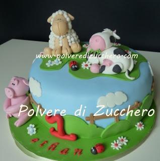Polvere di Zucchero: cake design e sugar art. Corsi decorazione torte,biscotti,cupcakes e fiori: Torta animali della fattoria: maialino, mucca e pecorella