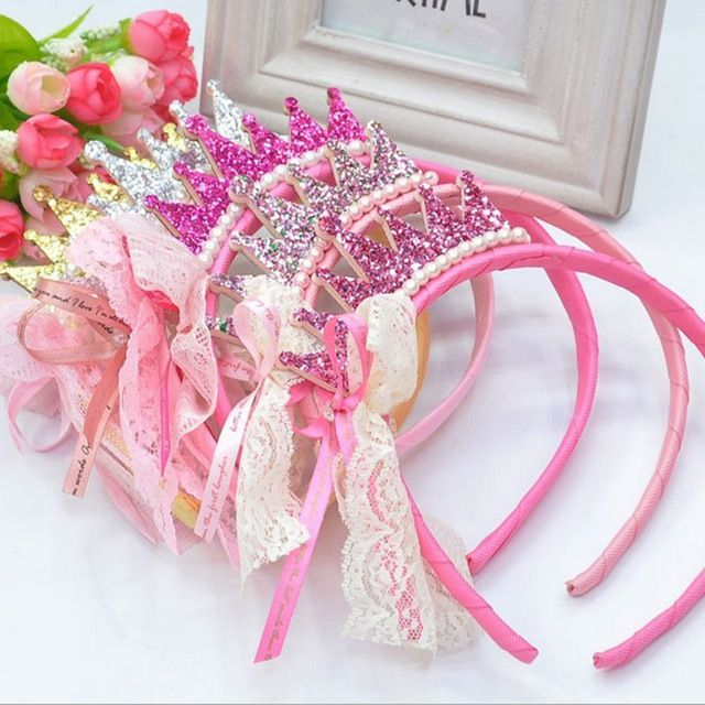 New 2016 Girls Hair Bands Pearls Resin Diamond Lace Bow Ribbon Crown Princess Children Accessories Hair Accessories Hair Band