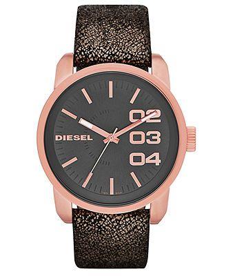 Diesel Watch, Women's Black Metallic Distressed Leather Strap 46mm DZ5372